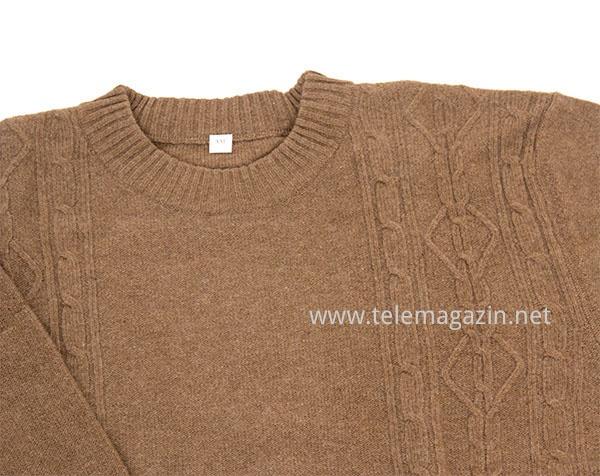 Коричневый пуловер с косами доставка